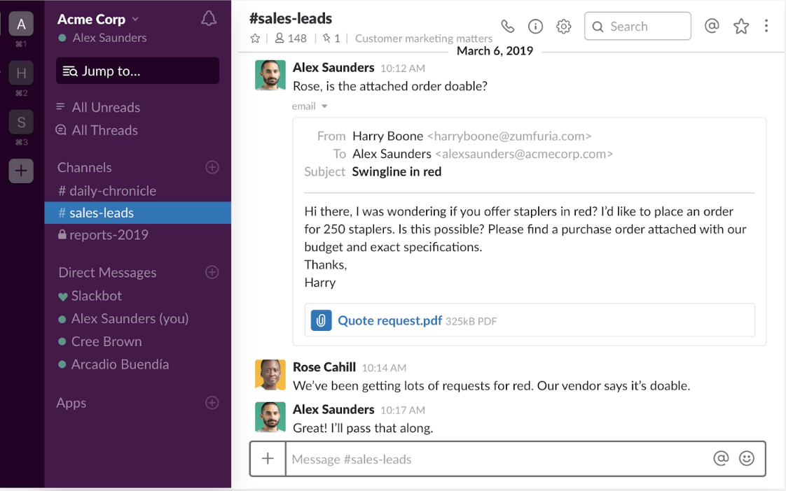 Send emails to Slack